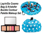 Lay-n-Go Cosmo Cosmetic Bag 50cm Travel Organiser & Kristofer Buckle Sculpt Contour Palette Makeup Value Set