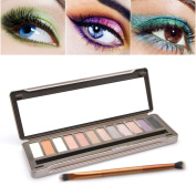 Eyeshadow Palette - Luismia 12 Colours Smoky Natrual Naked Make up Eye Kit with Mirror, Double-ended brush and Metal case Profusion