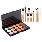 Mefeir 15-Colour Concealer Palette + 11pcs Bamboo Handle Brush Kit + Sponge Calabash-Shape Cosmetic Powder Puff