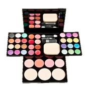 Mefeir 24 Colours Shimmer Glitter Eyeshadow + 8 Colours Lipstick + 4 Colours Blusher Cosmetic Seter + 3 Colours Pressed Powder Foundation Makeup Palette Multi-layer Cosmetic Assembly