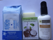 All Natural Makeup Removal Set - Remove -- Makeup Remover Towelettes+Positively Flawless Deep-pore Cleanser+Trader Joe's Facial Moisturiser