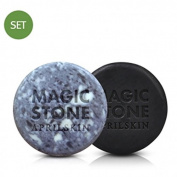 April Skin Magic Stone Soap Black & Original 2pcs Set Cleansing Soap 100% Natural