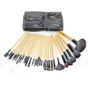 Vedar Beauty 32 Pcs Black Rod Super Professional Brush Set Kit with Black PU Leather Pouch ,32 Count for For Eye Shadow, Blush, Concealer, Etc