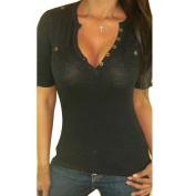 Orangesky Women Cotton V-Neck Tops Short Sleeve T-Shirt Casual Blouse Tank