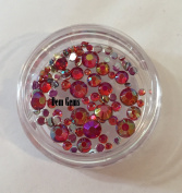 Red Tiny Rounded Nail Art Gems faux Mini Rhinestone Jewel Micro Stones