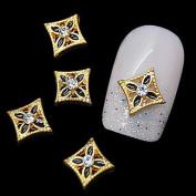 Kaifina 10pcs Golden Flower 3D Alloy Rhinestones Nail Art Decoration