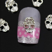 Kaifina 10pcs Silver Skull 3D Rhinestone Alloy Nail Art Decoration