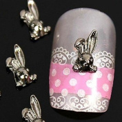 Kaifina 10pcs 3D DIY Rabbit Alloy Nail Art Decoration