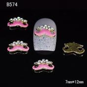 Kaifina 10pcs Gold Beauty Pink Moustache 3D Alloy Nail Sticker Rhinestone DIY Nail Art Decoration