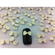 Kaifina 10PCS 3D Rhinestone Studded Silver Nail Art Decorations