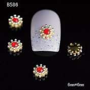 Kaifina 10pcs Gold Snowflake 3D Alloy Nail Sticker Rhinestone DIY Nail Art Decoration