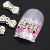 Kaifina 10pcs GENTELMEN BOWS TIE Gitter Rhinestone 3D Alloy Nail Art Decoration