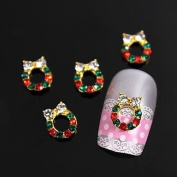 Kaifina 10pcs Xmas Golden Mistletoe Wreath Rhinestones 3D Alloy Nail Art Decoration