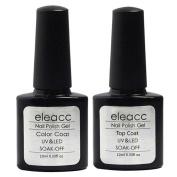 Eleacc 2x 10 ml Base Top Coat Soak Off UV LED Lamp Gel Nail Polish Nail Art Gelpolsih Primer Manicure Kit