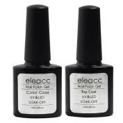 Eleacc 2x 7.3 ml Base Top Coat Soak Off UV LED Lamp Gel Nail Polish Nail Art Gelpolsih Primer Manicure Kit