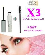 3 X FEG Eyelash Enhancer Growth Liquid/Serum. 100% Original with Anti-Fake sticker!!! + Eyelashs and eyebrow brush!!!