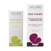 Acure Organics Tightening Eye Contour Treatment and Edelweiss Stem Cell Eye Cream Bundle For Puffiness, Dark Circles, Lines, Wrinkles and Ageing, With Aloe Vera, Hibiscus and Witch Hazel, 1 and 15ml