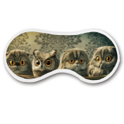 Promini Cute Cats and Owl Sleep Mask with Strap Lightweight Comfortable Eye Mask for Bedtime or Relaxation, Travel, Shift Work, Meditation