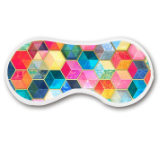 Promini Colourful Hexagons Sleep Mask with Strap Lightweight Comfortable Eye Mask for Bedtime or Relaxation, Travel, Shift Work, Meditation