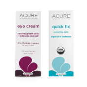Acure Edelweiss Stem Cell Eye Cream and Quick Fix Correcting Balm Bundle For Fine Lines, Wrinkles, Cuticles, Chapped Hands and Stretch Marks With Jojoba Oil, Beeswax, Argan and Borage, 30ml each