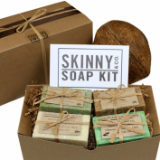 Skinny & Co. Coconut Oil 120ml Handcrafted Raw Soap Sampler Gift Set