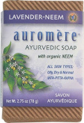 Auromere Ayurvedic Bar Soap Lavendar Neem DUO SET - 80ml for (All Skin Types Oily, Dry & Normal) with a FREE Revitalising Facial Brush