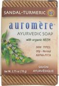 Auromere Ayurvedic Bar Soap Sandalwood Turmeric DUO SET - 80ml for (Skin Types Oily - Normal) with a FREE Revitalising Facial Brush