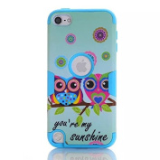 iPod Touch 5/6 Case , SAVYOU iPod Touch Sunshine Owl Print Shockproof Armour Combo Case with Plastic + Silicone Cover for Apple iPod Touch 5/6th