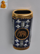Beautiful Thai Unique Ancient Designed Blue Silver Tone Lighter Sheath Case Holder For Gift Souvenir Collectible