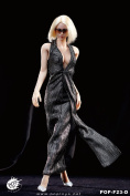 1/6 F23 POPTOYS / Famle Action Figure Dress / Monroe Evening Dress Silvery