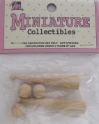MANGELSEN'S Craft MINIATURE COLLECTIBLES Pack of 2 WOOD BASEBALL BATS Each 2.5cm - 2.2cm Long & 3 Wooden BASEBALLS Each 0.8cm Diameter