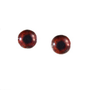 6mm Pair of Dark Brown Glass Eyes Flatback Cabochons for Toy Doll or Jewellery Making