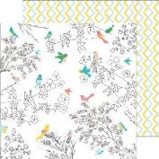 Pinkfresh Studio PFRC100116A 25 Sheet Florals and Birds Felicity Double-Sided Cardstock, 30cm by 30cm , Multicolor