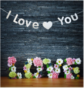 GZFY I Love You Banner Wedding Decoration Wedding Day Wall Sticker Proposal Romantic