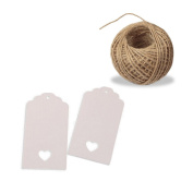 G2PLUS® 100 PCS Kraft Paper Gift Tags Hollow Heart Wedding Favour Tags 4cm x 9cm with 30m Jute Twine