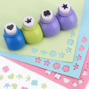LGGE 4x DESIGN MINI PAPER PUNCH PUNCHES HOLE CUTTERS ART CRAFT SCRAPBOOK CARDS -HEART STAR CROWN CLOVER