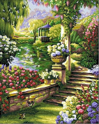 [ New Release, Wooden Framed or Not ] Diy Oil Painting by Numbers, Paint by Number Kits - Flower Embankment 16*50cm - PBN Kit for Adults Girls Kids Christmas New Year Gift