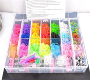 FunnyAll 28 Grid Boxed 3200pcs Loom Bands Kit Rainbow Loom Bands DIY For Children