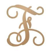 30cm , Single Vine Letter F Monogram, Unpainted Wood