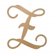 30cm , Single Vine Letter Z Monogram, Unpainted Wood