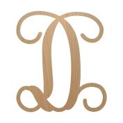 30cm , Single Vine Letter D Monogram, Unpainted Wood