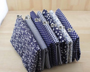 7 Pcs Cloth Fabric Cotton Fabric for Quilting 50*50cm - Dark Blue Series
