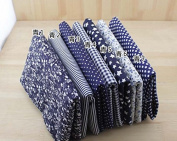 7 Pcs Cloth Fabric Cotton Fabric for Quilting 50*50cm - Dark Blue Series