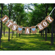 Aisila® IT IS A BOY LOVE HEART Paper Garland Bunting Banner Christening Baby Shower Birthday Party Decoration Photo Props