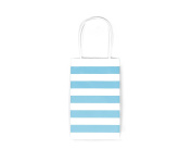 12CT SMALL LIGHT BLUE STRIPE BIODEGRADABLE, FOOD SAFE INK & PAPER KRAFT BAG WITH WHITE STURDY HANDLE