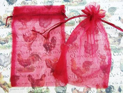 50pc Drawstring 10cm x 15cm Organza Gift Bag (NO4-Burgundy Red) US SELLER SHIP FAST