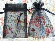 50pc Drawstring 10cm x 15cm Organza Gift Bag (NO4-Black) US SELLER SHIP FAST