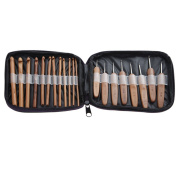 Awakingdemi 20Pcs Bamboo Crochet Hooks Knitting Needles Set with Case