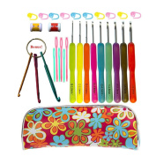Crochet Hook Set,Ergonomic Grip Crochet Hooks Kit,With Crochet Hook Case Organiser,Comfort Grip Crochet Needles ★Yarn Needles,Stitch Markers,Knitting Row Counter,Key Chain Crochet Hooks & More!