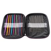 Yosoo Mixed Aluminium Handle Crochet Hooks Knitting- Knit Needles Weave Yarn Set